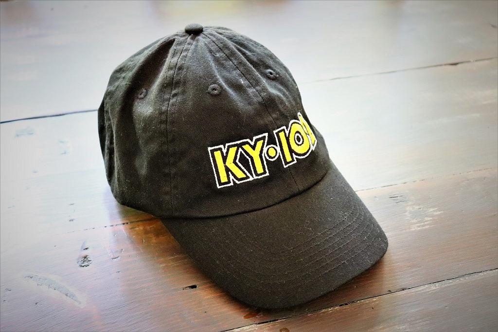 Kansas City classic radio station KY102 black 5 panel unstructured low profile hat with adjustable closure - Dalton Ink