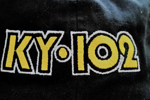 Close up of embroidered Kansas City classic radio station KY102 black 5 panel unstructured low profile hat with adjustable closure - Dalton Ink