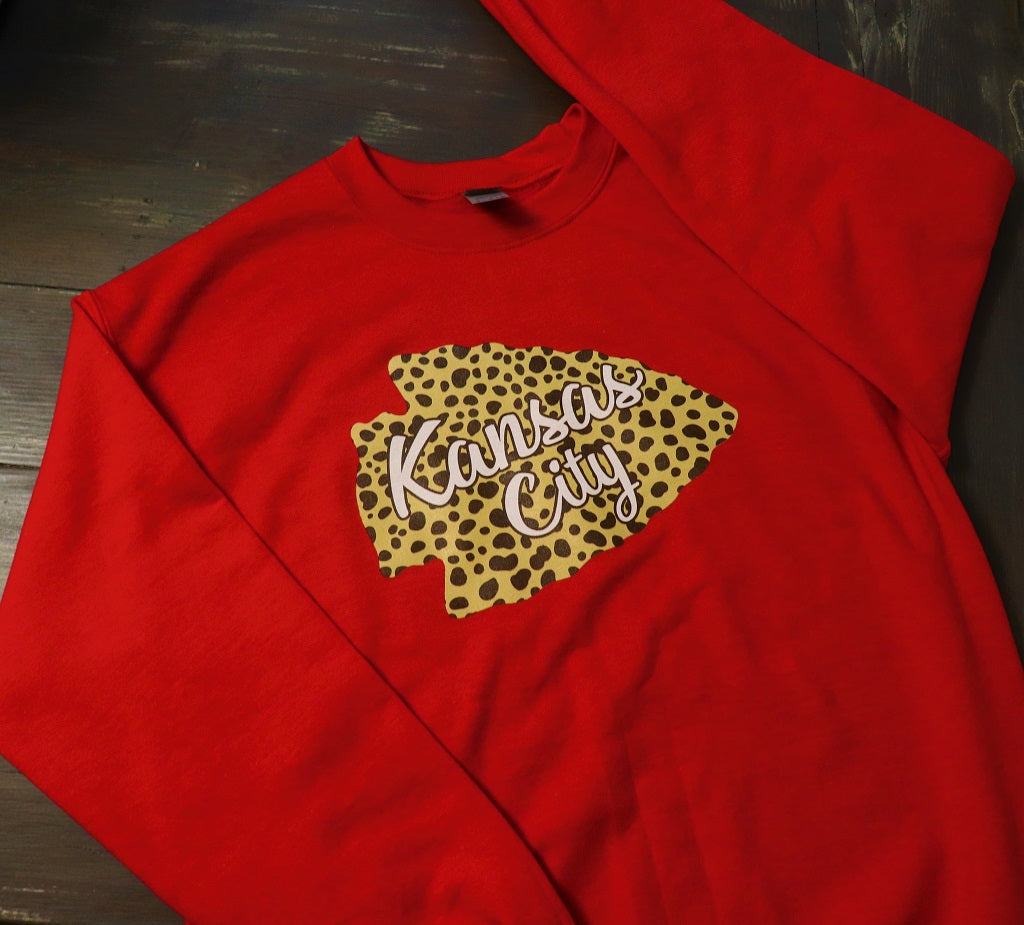 Cheetah Arrowhead on Red Crew Sweatshirt