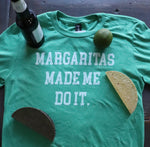"Fun Novelty unisex heather green short sleeve soft style t-shirt with ""Margaritas Made Me Do It"" in white text across the front - featured with tacos, beer and lime - Dalton Ink"