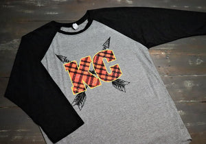 KC Plaid and Arrows - Baseball Sleeve - KC Shirts