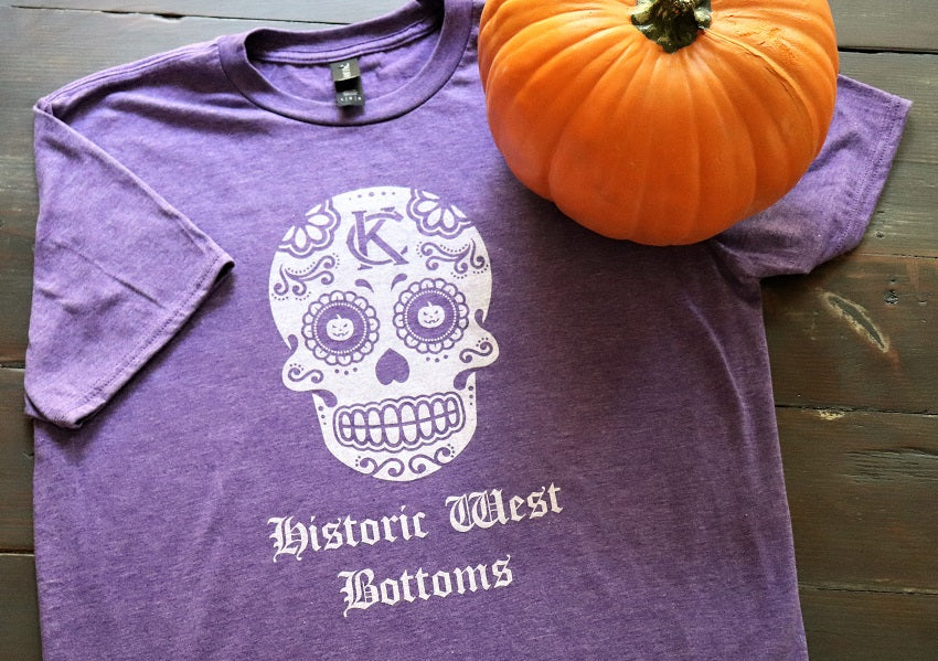 KC Vintage Logo Sugar Skull White Design Historic West Bottoms on a Heather Purple short sleeve crew neck t-shirt - Dalton Ink