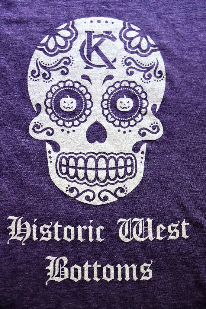 Close Up KC Vintage Logo Sugar Skull White Design Historic West Bottoms on a Heather Purple short sleeve crew neck t-shirt - Dalton Ink