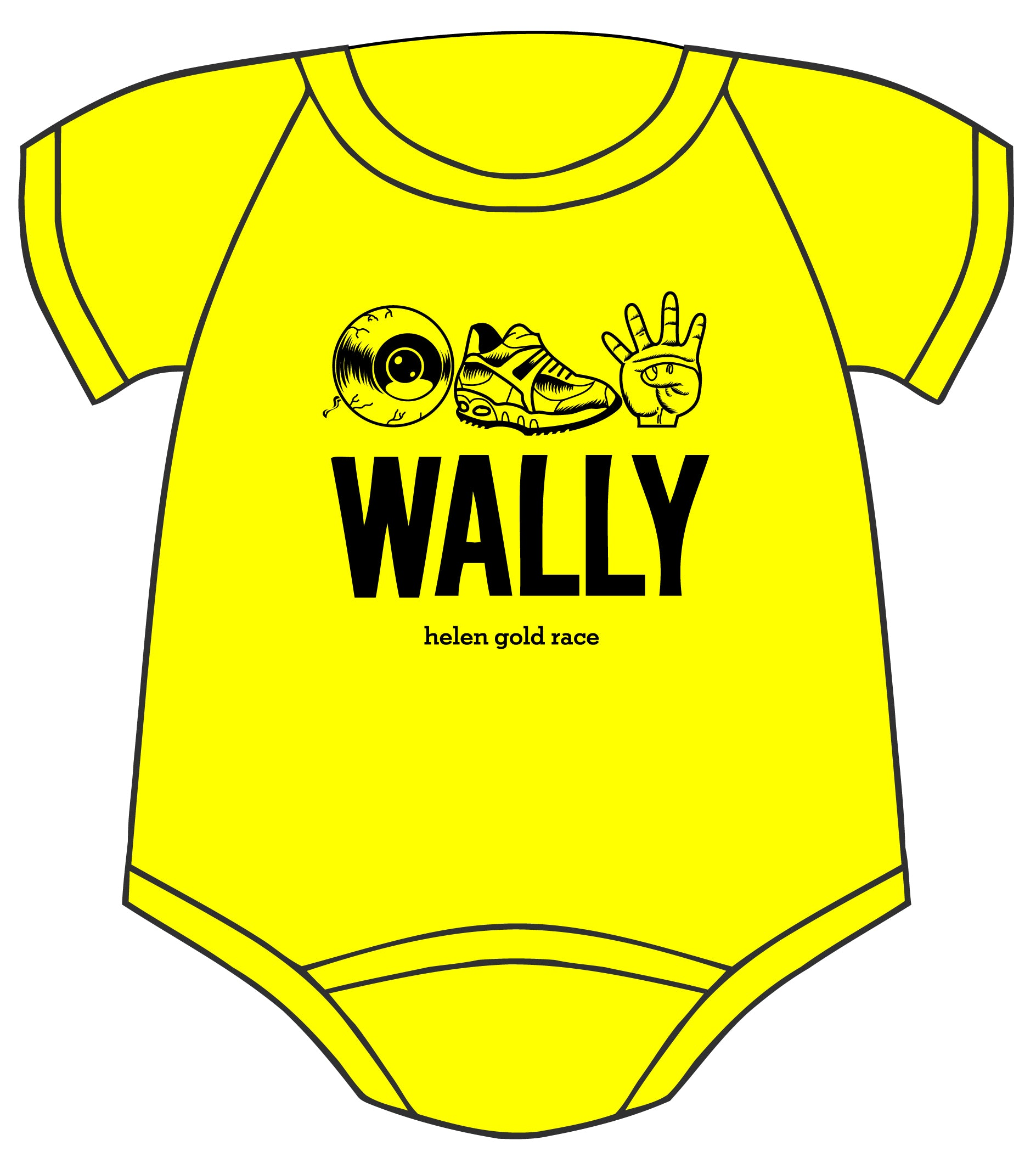 Yellow onesie for I run for Wally - Dalton Ink