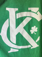 Close Up Vintage Kansas City soft style heather green unisex short sleeve t-shirt featuring the vintage KC logo and a shamrock printed in white print across the chest - Dalton Ink