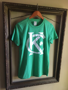 Vintage Kansas City soft style heather green unisex short sleeve t-shirt featuring the vintage KC logo and a shamrock printed in white print across the chest - Dalton Ink