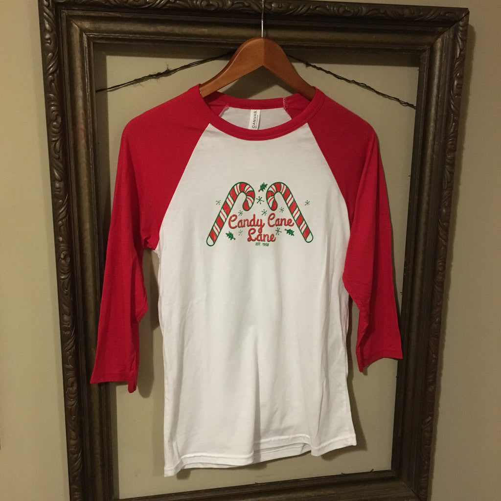 Candy Cane Lane Baseball Tee - Dalton Ink