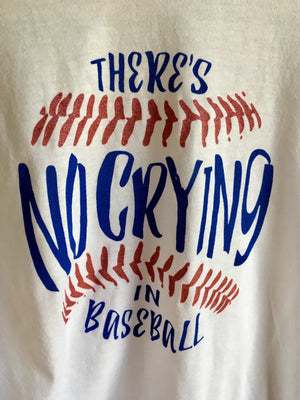 "Close up of Fun Novelty White Baseball 3/4 sleeve t-shirt with blue sleeves unisex with ""There's no crying in baseball"" printed in blue and red glitter - Dalton Ink"