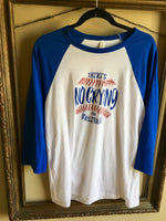 "Fun Novelty White Baseball 3/4 sleeve t-shirt with blue sleeves unisex with ""There's no crying in baseball"" printed in blue and red glitter - Dalton Ink"
