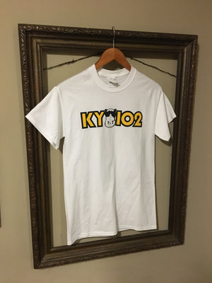 KY 102 - classic Kansas City Radio Station Logo with Hippo printed in full color on white crew neck unisex short sleeve t-shirt - Dalton Ink