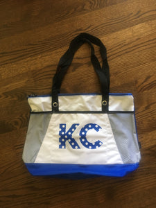 Kansas City tote bag with KC printed in blue and white Polka Dots - Dalton Ink