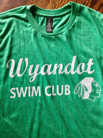 Vintage Kansas City Wyandot Swim Club logo featured in white ink on a green unisex short sleeve t-shirt - Dalton Ink