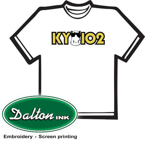 KY 102 - classic Kansas City Radio Station Logo with Hippo printed in full color white crew neck unisex short sleeve t-shirt - Dalton Ink