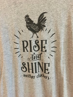 Close up of Vintage Kansas City Rise and Shine Mother Cluckers featured in black on a grey baseball 3/4 sleeve t-shirt with black sleeves unisex - Dalton Ink