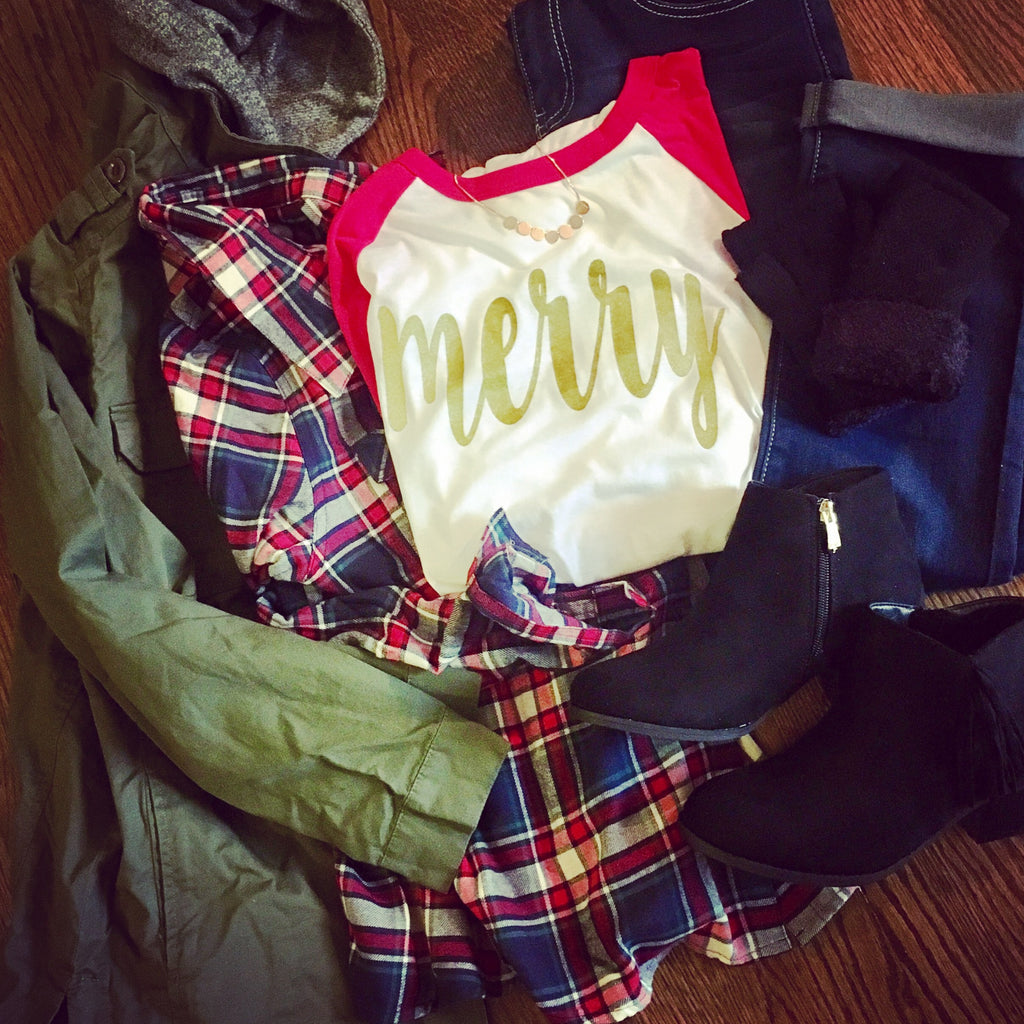 Display your love of the season for everyone to see with this red sleeved baseball tee with gold glitter baseball script in Merry.  It really is the most wonderful time of the year. Holiday and Christmas Clothing from Dalton Ink