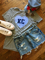 Heather Grey unisex short sleeve soft style t-shirt with KC printed in blue on a sky blue Glitter Heart  - Dalton Ink