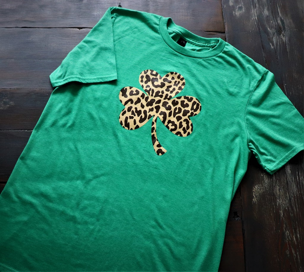 Cheetah Print Shamrock Shirt Sleeve T-Shirt