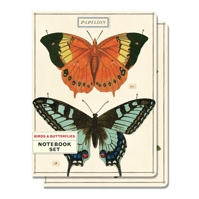 NOTEBOOK SET MED / BIRDS & BUTTERFLIES