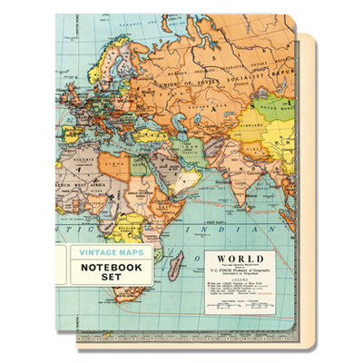 NOTEBOOK SET MED / VINTAGE MAPS