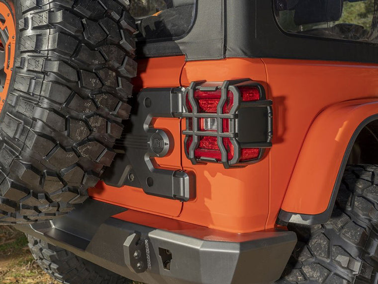 RUGGED RIDGE Euro Tail Light Guards in Textured Black for 18-up Jeep Wrangler JL & JL Unlimited