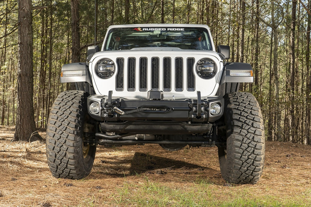 RUGGED RIDGE Arcus Front Bumper, w/ Winch Tray & Tow Hooks, 18-up Jeep Wrangler JL & JL Unlimited