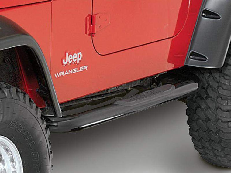 "RUGGED RIDGE 3"" Round Side Tube Steps for 87-95 Jeep Wrangler YJ"