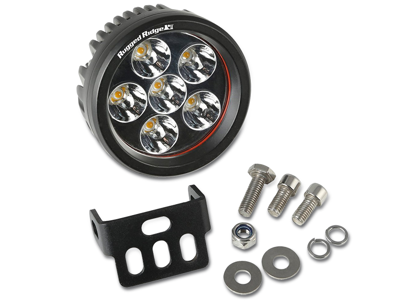RUGGED RIDGE Round LED Driving Lights, 18W, 30,000 hours, 1040 Lumens, Each for 3.5""