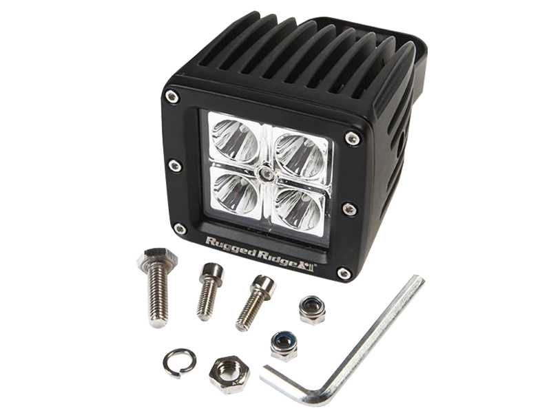 RUGGED RIDGE Square LED Driving Lights, 16W, 30,000 hours, 840 Lumens, Each for 3""