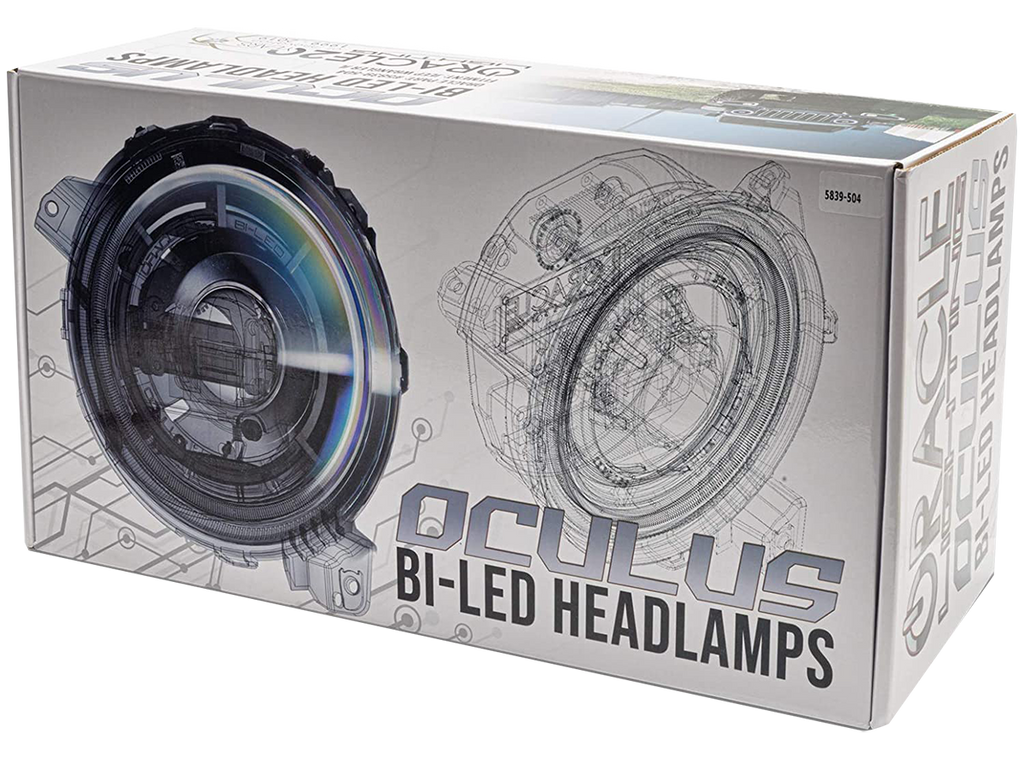 "ORACLE Lighting Oculus™ Bi-LED Projector 9"" Headlights w/ White Halo Ring (Pair), Matte Black for 18-up Jeep Wrangler JL and 20-up Gladiator JT"