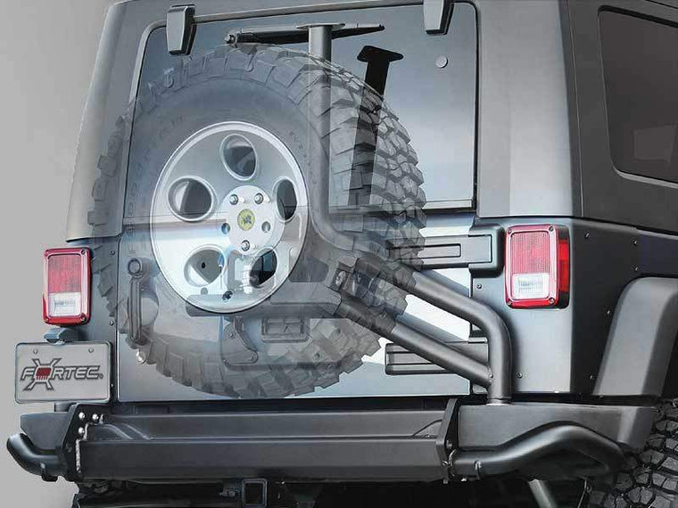 AEV Tire Carrier for AEV or Factory Rear Bumper in Textured Black for 07-18 Jeep Wrangler JK & JK Unlimited
