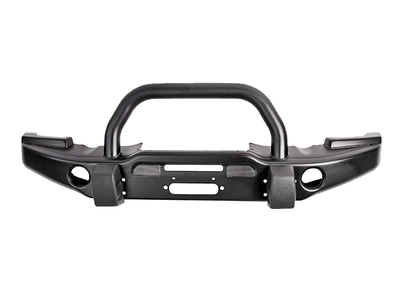 AEV Premium Front Bumper with Center Hoop in Textured Black for 07-18 Jeep Wrangler JK & JK Unlimited