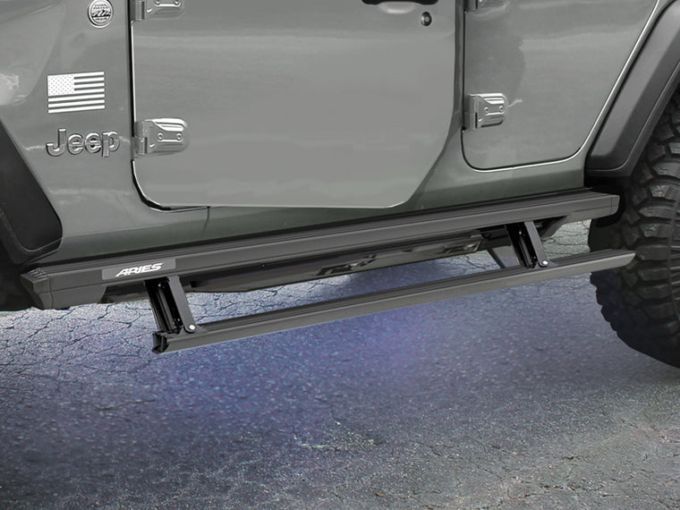 ARIES ActionTrac Powered Running Board, Black, 4-Door Only for 18-up Jeep Wrangler JL Unlimited