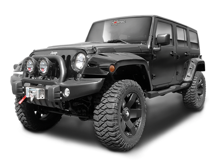 "BUSHWACKER Pocket Style ""EXTENDED Coverage"" Fender Flares in OEM Style Textured Black Finish for 07-18 Jeep Wrangler JK & JK Unlimited"
