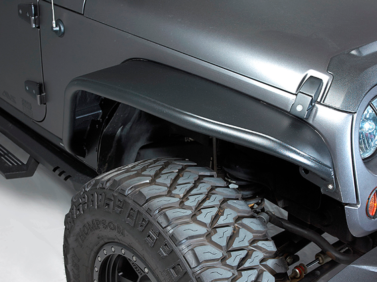 BUSHWACKER Front & Rear Tube Fender Flares, Aluminum, Black Powder Coated (incl. Lights) for 07-18 Jeep Wrangler JK & JK Unlimited