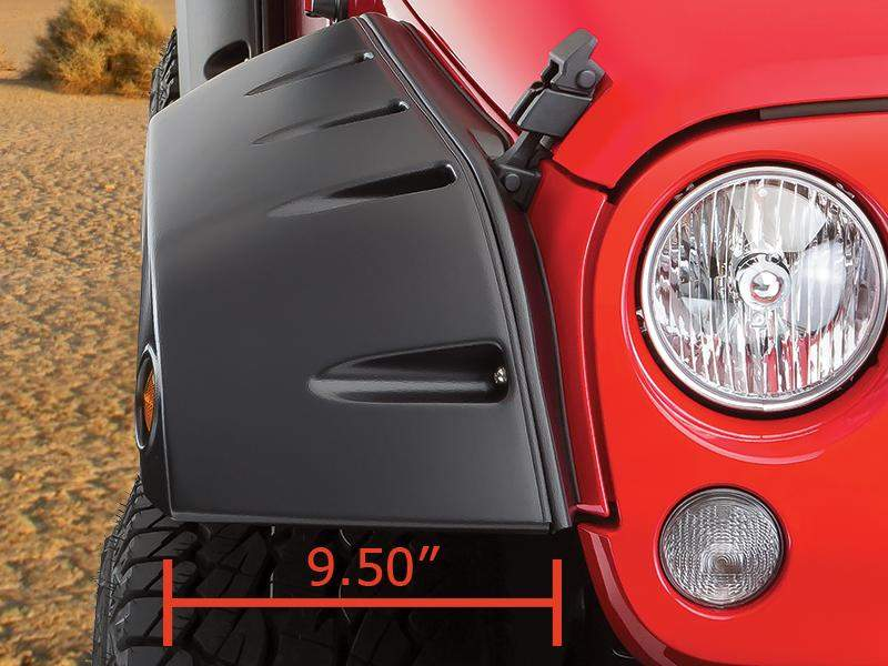 "BUSHWACKER Pocket Style ""Factory Width Coverage"" Fender Flares in OEM Style Textured Black Finish for 07-18 Jeep Wrangler JK & JK Unlimited"
