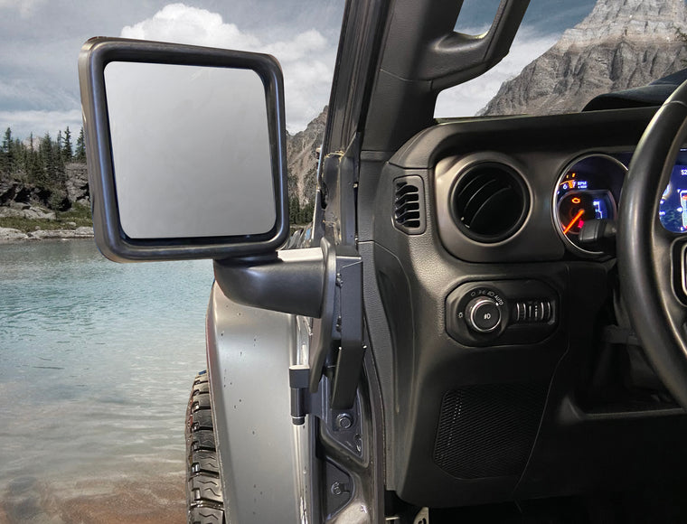 DIE-TECH Off-Road Mirror Brackets for 18-up Jeep Wrangler JL & JL Unlimited and 20-up Gladiator JT
