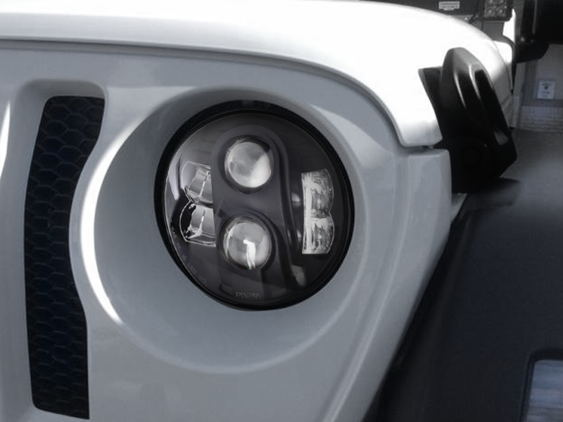"PROCOMP Explorer 7"" LED Headlight, Pair WITH ADAPTER to fit 18-up Jeep Wrangler JL & JL Unlimited"