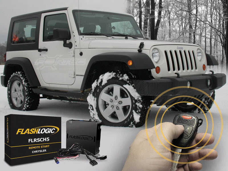 FLASHLOGIC Remote Start Kit for 07-18 Jeep Wrangler JK & JK Unlimited with Automatic Trans