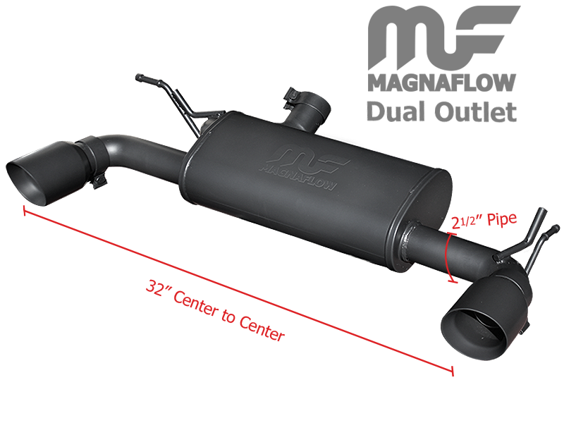 FORTEC Black Ceramic Coated Dual Exhaust System by Magnaflow w. adjustable Tips for 07-18 Jeep Wrangler JK & JK Unlimited