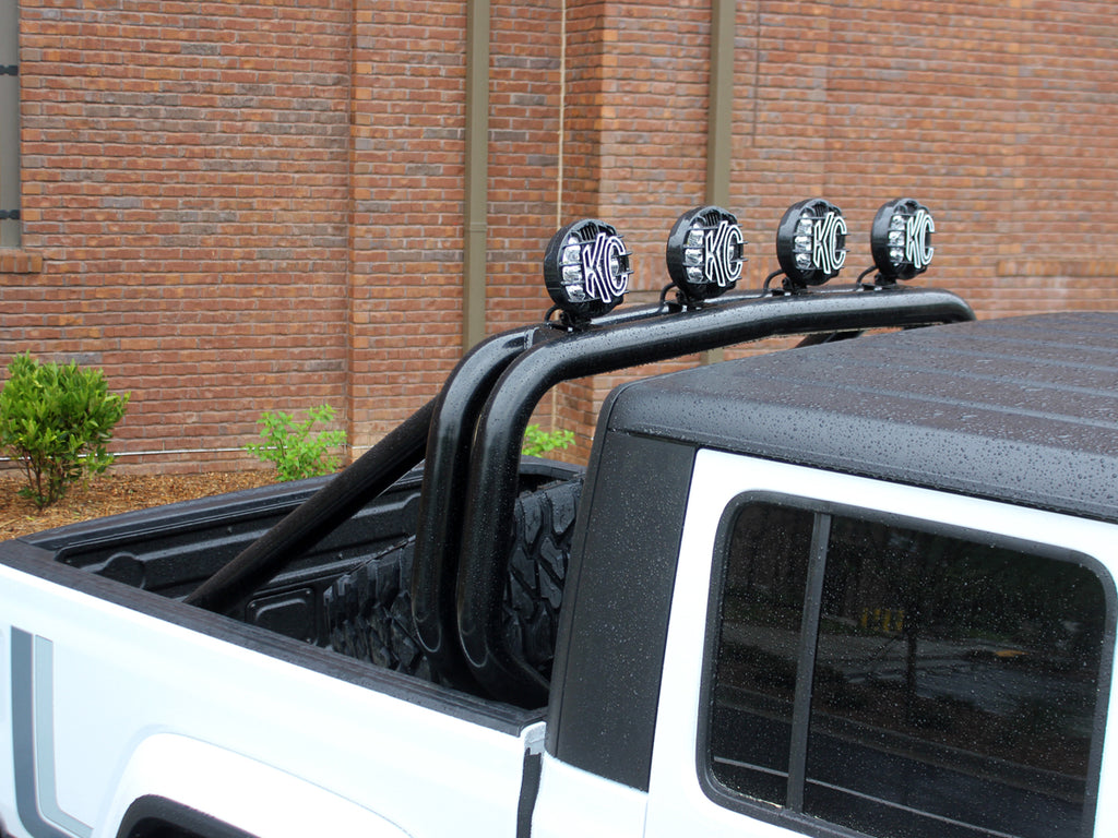 FORTEC Custom Sport Bar, Double Hoop, Single Kicker, 4-Light Tabs, Floor Mounted, Satin Black for 20-22 Jeep Gladiator JT