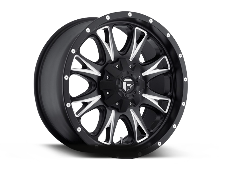 "FUEL D513 ""THROTTLE"" Wheel in Satin Black & Milled Spokes for 07-up Jeep Wrangler JK, JL & JT Gladiator"