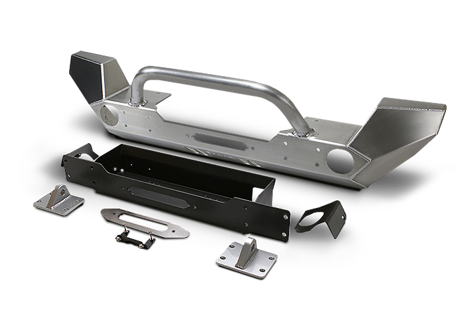 "GENRIGHT OFFROAD Fortec Full Front Bumper with 2"" Winch Guard, Aluminum for 07-18 Jeep Wrangler JK & JK Unlimited"