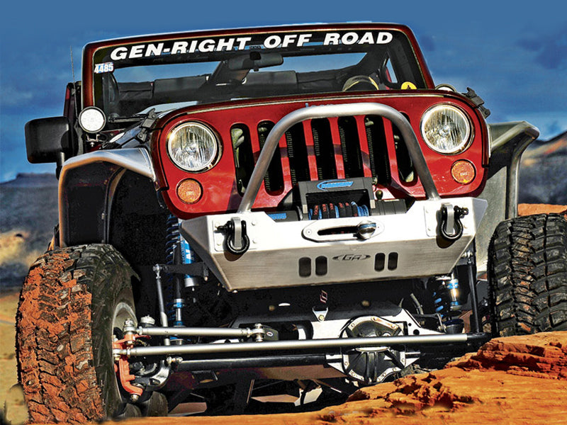 "GENRIGHT OFFROAD Fortec Stubby Front Bumper with 2"" Winch Guard, Aluminum for 07-18 Jeep Wrangler JK & JK Unlimited"