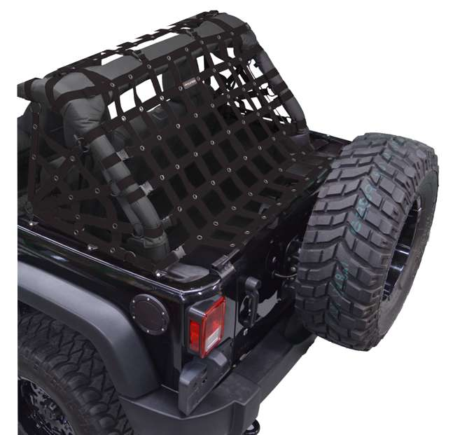 DIRTYDOG4x4 Netting 3pc Kit Cargo Sides, Black, 4-Door Only for 07-18 Jeep Wrangler JK Unlimited