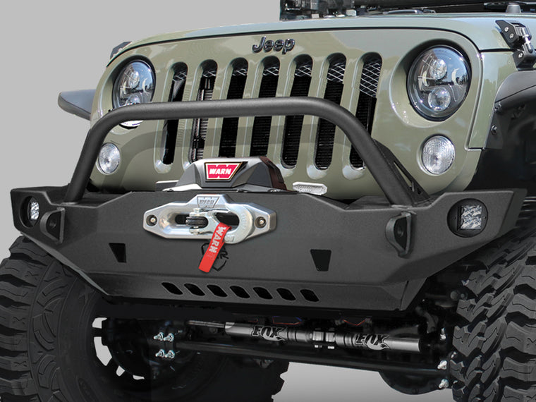 JCR OFFROAD Crusader Front Mid Width Bumper with Center Hoop, Textured Black for 07-18 Jeep Wrangler JK & JK Unlimited