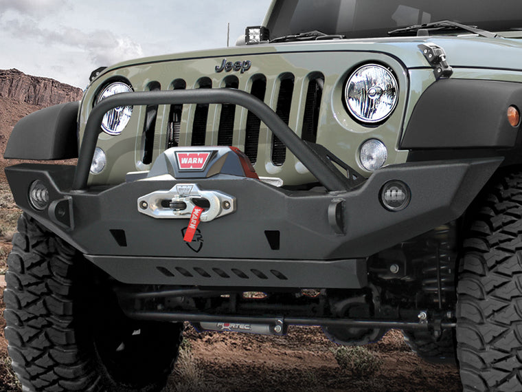 JCR OFFROAD VanGuard Front Full Width Bumper with Center Hoop, Textured Black for 07-18 Jeep Wrangler JK & JK Unlimited