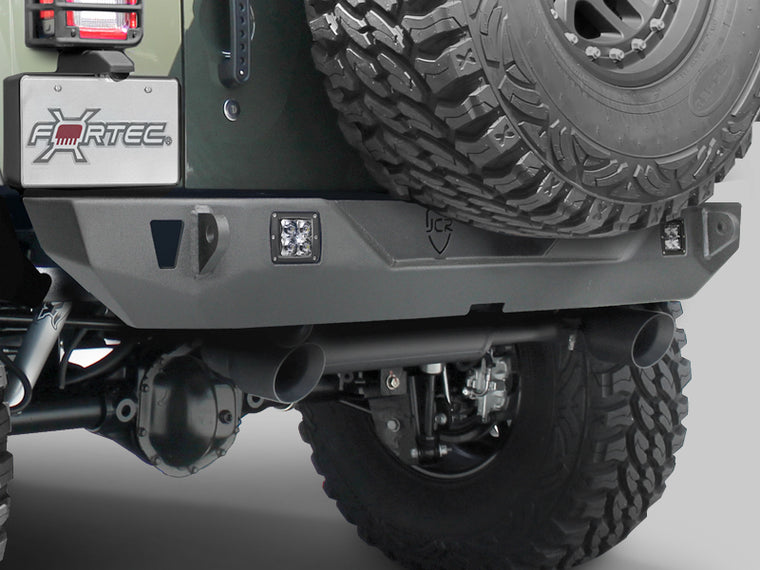 JCR OFFROAD Crusader Rear Mid Width Bumper, Textured Black for 07-18 Jeep Wrangler JK & JK Unlimited