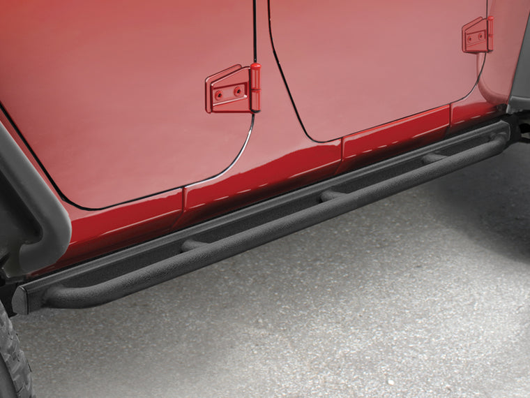 MOPAR Enhanced Rock Rails with Tubular Rub Rails, Pair, Textured Black for 07-18 Wrangler JK & JK Unlimited