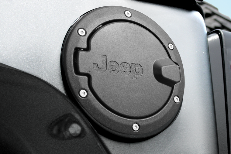 MOPAR Aluminum Fuel Door Housing in Textured Black with Jeep Logo for 07-18 Jeep Wrangler JK & JK Unlimited