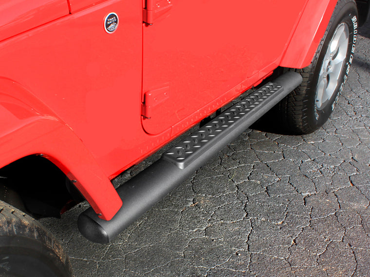 "MOPAR 4"" Oval Side Bars with Steps, Straight, Pair, Black 2-Door Only for 07-18 Jeep Wrangler JK"